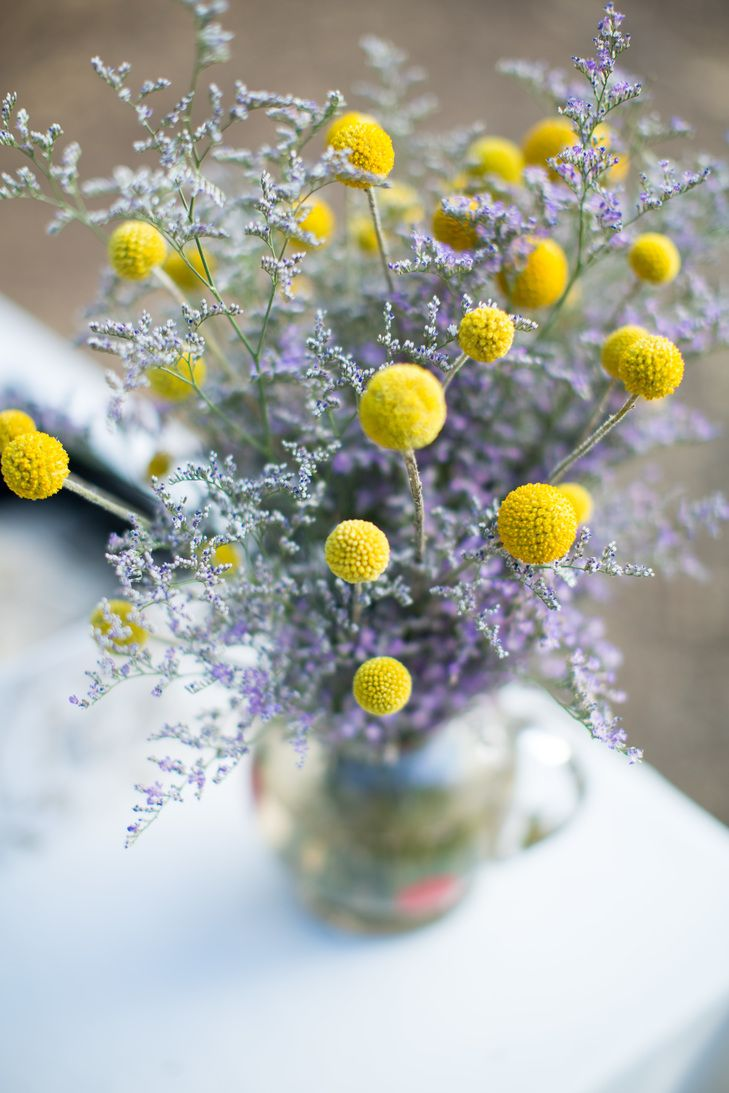 Lavender and Billy Balls Centerpiece