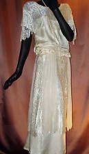 1920's Vintage Flapper Dress Ivory Silk Lace Chiffon Elegant Sz 6