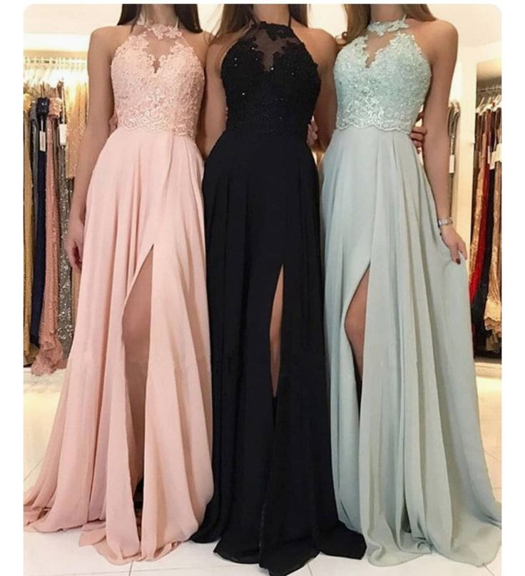 Charming Lace Halter Long Chiffon Split Evening Gowns Formal Prom Dresses 2