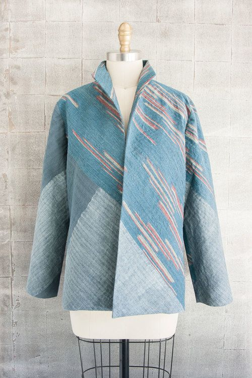 Alternate Chevron #Jacket in #Blue and #Gray #Linen #Japanese #textile #vintage…
