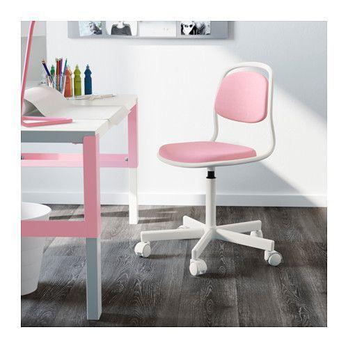 Orfjall Chaise De Bureau Enfant Blanc Vissle Rose Blanc