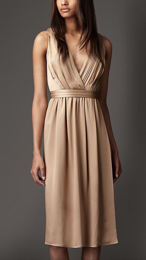 Burberry - Pleated V-neck Silk Dress