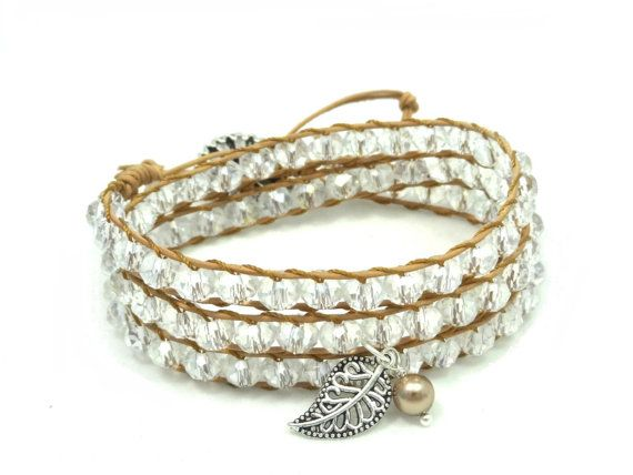Leather Wrap Bracelet, Crystal Bracelet, Triple Wrap Bracelet, Bohemian Bracelet, Gift for Her, Leather Wrap Bracelet, Crystal Wrap Bracelet