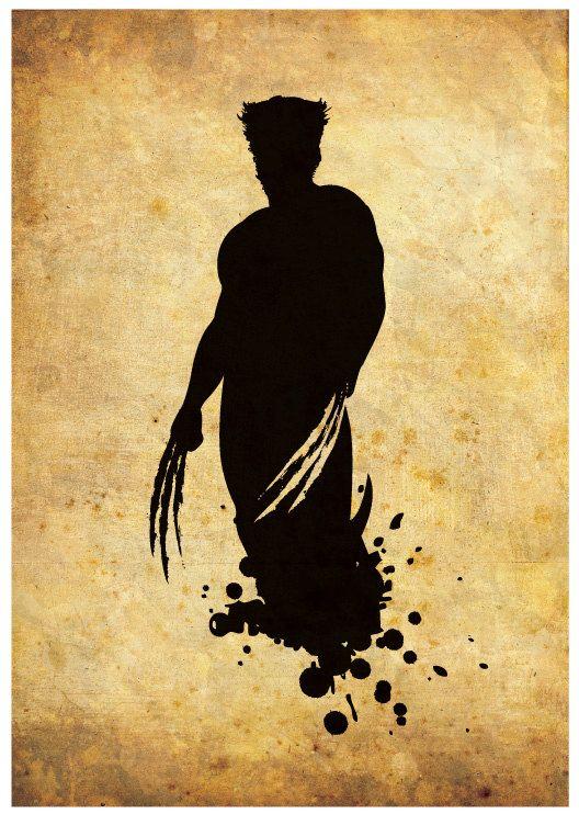 Silueta superhéroe Wolverine Poster Print por RightBrainJooz