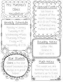 Teacher Laura: Editable Class Newsletter Template