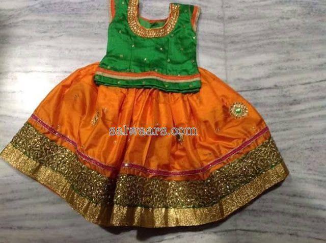 Orange and Green Silk Lehenga