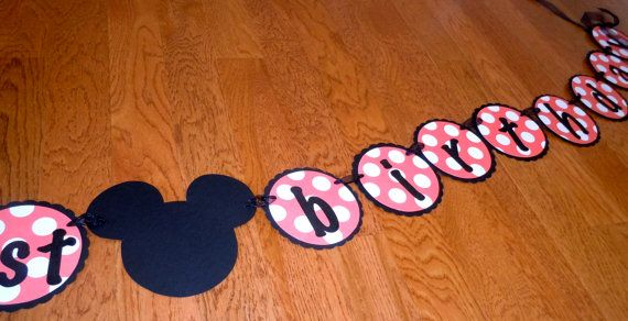 Mickey Mouse Happy Birthday Banner, Minnie Mouse, Happy 1st Birthday, pink, white, and black