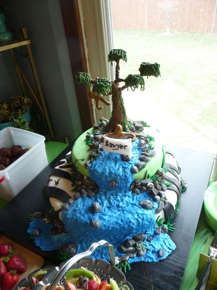 Tiered Fondant Jungle Themed Cake For Baby Shower With