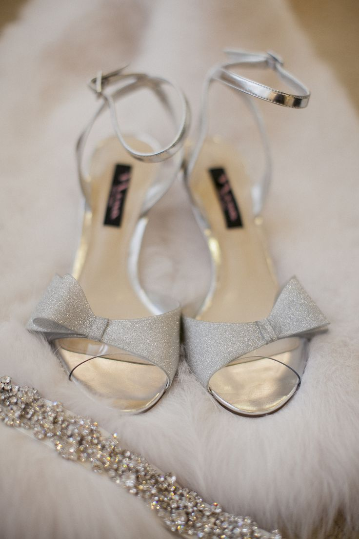 Essentials for a winter wedding- fur, crystals and silver shoes!