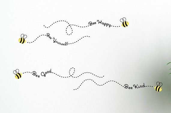 Bee Philosophies  vinyl wall decals.  I applied them over the doorways in my future grandchild's room.