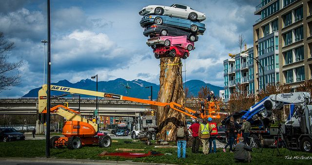 """Photo credit: flickr user Tim McGrath - sculpture is """"Trans Am Totem"""" by Marcus Bowcott, part of the 2014-2016 Vancouver Biennale"""