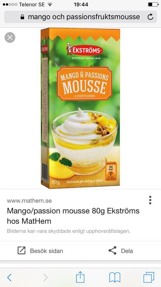 Fått väldigt bra betyg som nödlösning från flera på bakgruppen TantFondant. Särskilt om man byter ut lite av mjölken mot grädde och lägger i några passionsfrukter eller mangobitar.