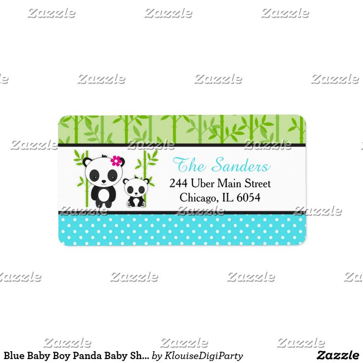 Blue Baby Boy Panda Baby Shower Label