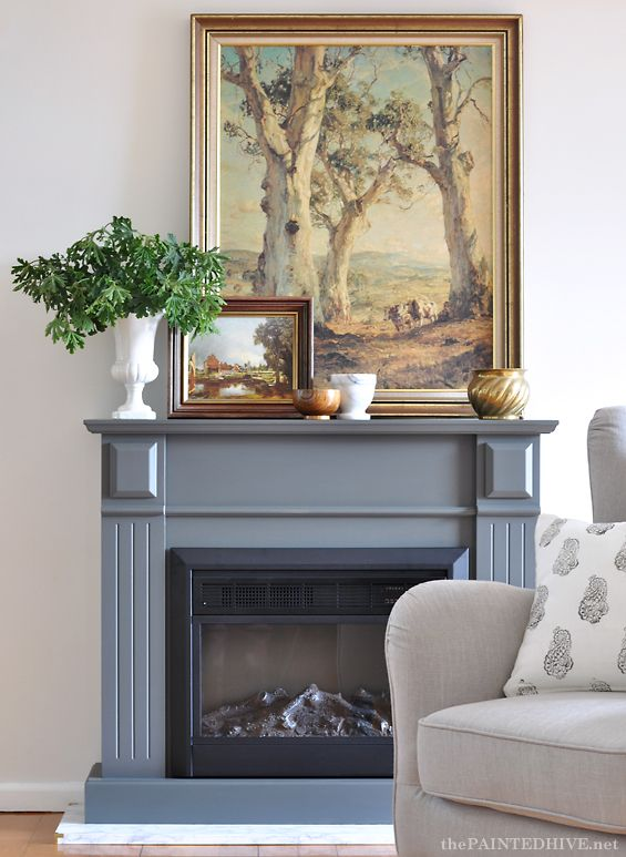 Gray Fireplace Styling Art In 2019 Marble Hearth Diy