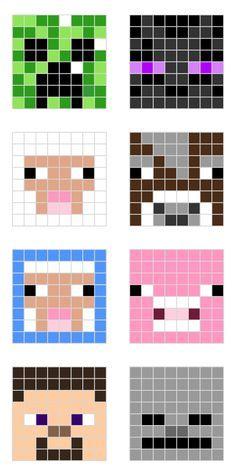 Diseños de Minecraft para hama beads // Minecraft designs for HAMA beads // printable PDF