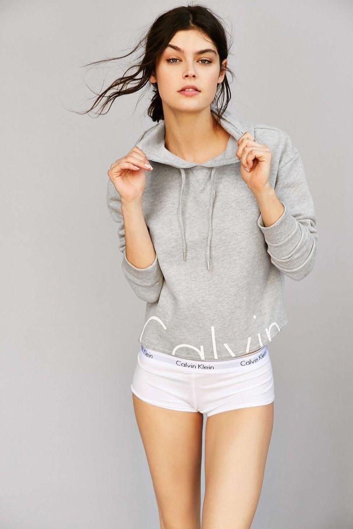 Model wears Sweatshirt for Calvin Klein Jeans Lookbook Photoshoot