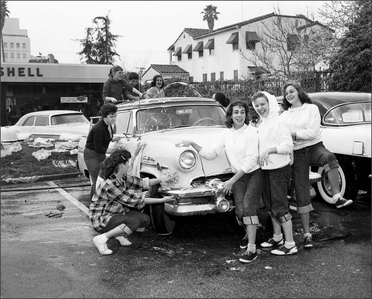 teens of 1958 doing a car wash the 30s 40s 50s 60s 70s teenage years of music fun and fads. Black Bedroom Furniture Sets. Home Design Ideas