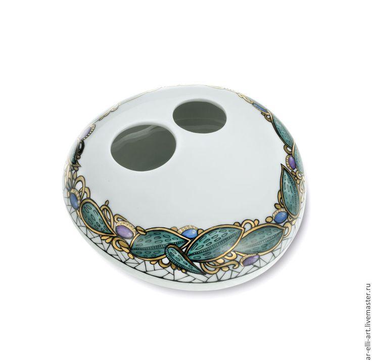 Купить Фарфоровая ваза. Лист. - разноцветный, фарфоровая ваза, фарфор, фарфоровая посуда, ваза декоративная