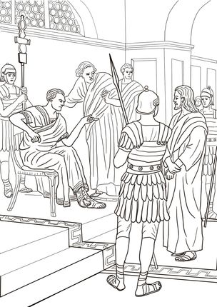 Jesus Before Pilate coloring page