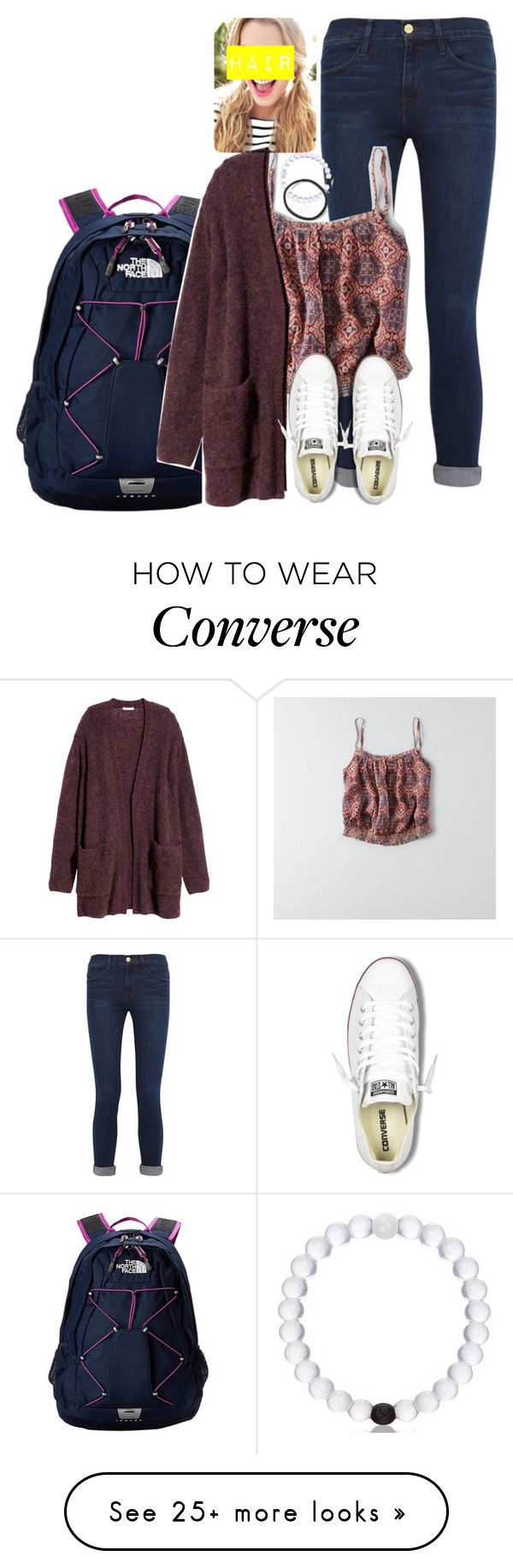 """""""Outfit idea #2"""" by katieegarvey on Polyvore featuring Frame Denim, American Eagle Outfitters, The North Face, H&M, Converse and schooooloutfitz"""