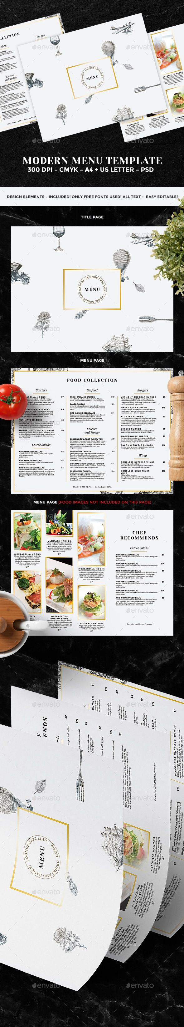 Food Menu  #photoshop #psd #flyer #dinner • Download ➝ https://graphicriver.net/item/food-menu/18721687?ref=pxcr