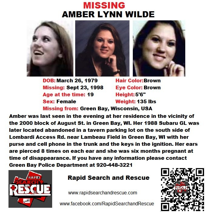 """Current Missing Person flyers from Wisconsin in the 1990s To assist with Amber Alerts and missing person cases through flyer and picture sharing on Facebook please """"Like"""" Rapid Search and Rescue on Facebook: facebook.com/RapidsSAR Follow us on twitter also @Rapid_SAR"""