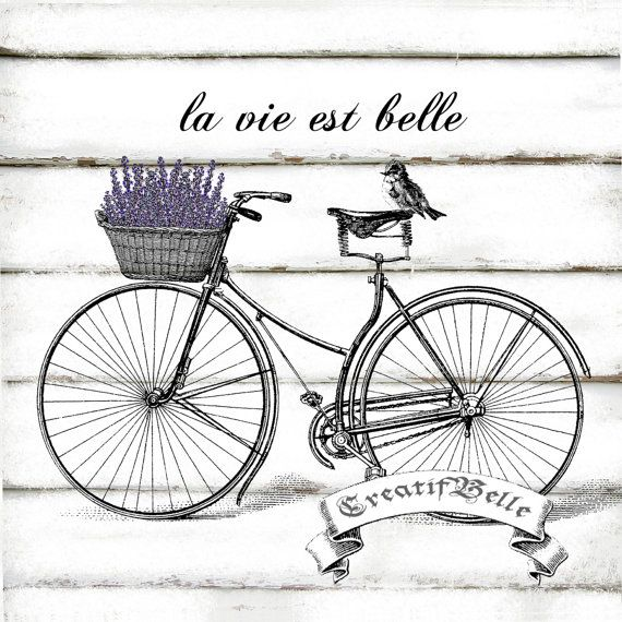 French Vintage Bicycle Large Instant Digital by CreatifBelle