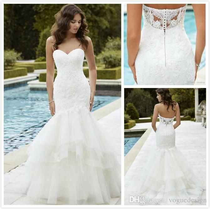 Buy wholesale hot sale 2016 lace wedding dresses with backless mermaid sweetheart appplique beading ruffles bridal gowns arabic plus size wedding dress which is at a discount now. voguedesign has guaranteed its quality. bridal wedding dresses, bride gowns and brides dress are all in the list of superb dresses.