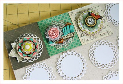 embellished doily series/ Christine Middlecamp http://retrospection.typepad.com/my_weblog/2010/05/the-embellished-paper-doily-part-three.html