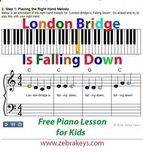 London Bridge Is Falling Down, a popular children song - Learn how to play this song online, Free interactive piano provided.