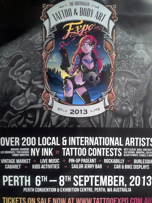 Lock 6-8th September 2013 in your diary for  The Australian Tattoo & Body Art Expo at the Perth Convention & Exhibiton Centre  We are super excited to be having a market stall there so come say hello!!