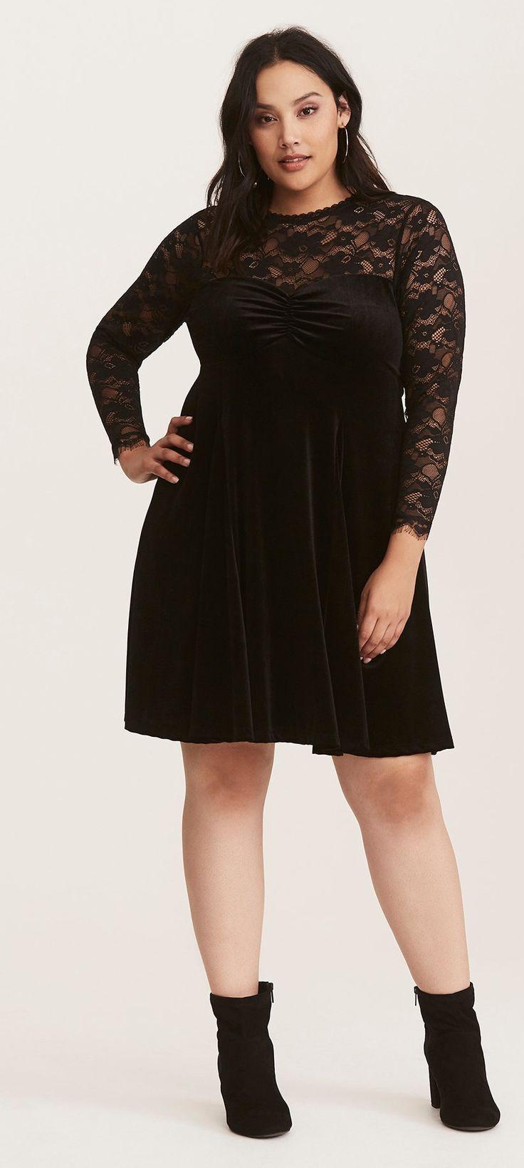 Plus Size Velvet & Lace Dress - Plus Size Holiday Party Dress - Plus Size Cocktail Dress #plussize