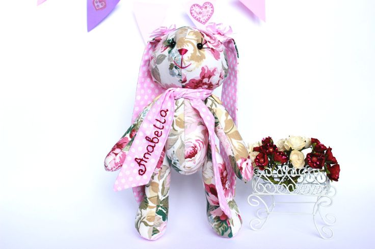 Personalized stuffed bunny Personalized toy Stuffed Animal toy Flower rabbit toy Gift fot baby girl by TildaArt on Etsy
