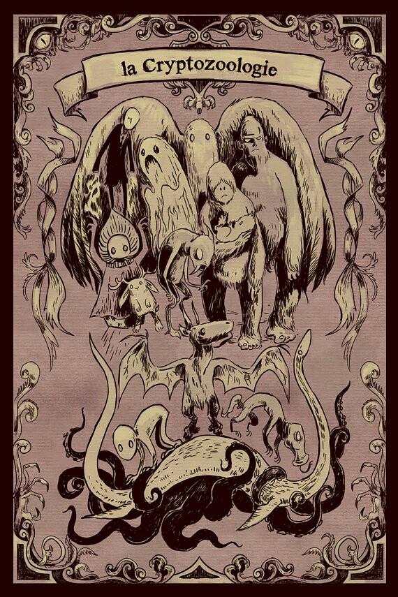 urban legends slender man, ghost, mothman, yeti family, chupacabra, jackalope, flat woods monster, jersey devil, bunyip, lochness monster, kraken, Dover demon