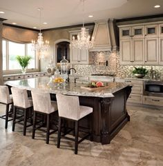 beautiful kitchen, love the bar stools, the chandeliers and the two diff colors of the cabinets and island cabinets