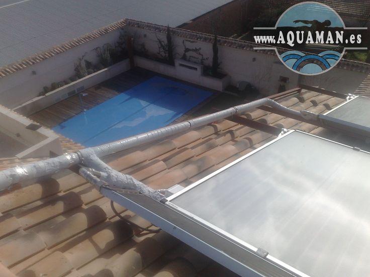 Calentamiento del agua de la piscina mediante placas solares.