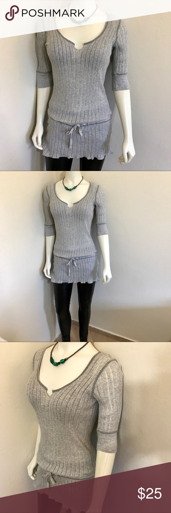 Armani Exchange Tunic Top Gray Sweater  L NWOT Label-Armani Exchange Style-Thin Gage Short Sleeve Sweater Dress, Tunic Top. Can be worn with as a dress or over leggings/skirt like a tunic. I have 4 of these in 4 different colors. All the same size.  Size-Large. Shown on a Size 2 5'8 mannequin. Fits a 8, 10 best Measurements-B-36 W-28 Hip-36 Shoulder to hem-24 All measurements unstretched. Color-Gray Fabric- Very thin Ribbed 100% Cotton Knit Condition-New without tags.  Origin-Hong Kong…