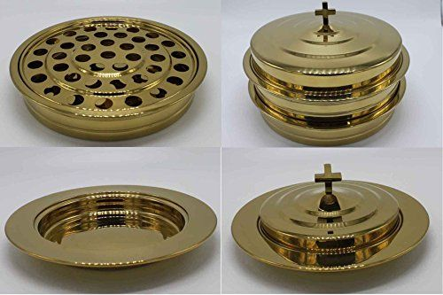 Silvertone– 2 Stainless Steel Communion Trays with 1 lid and 2 Bread Tray Set  This package includes 2 juice trays ,1 juice tray lid, 2 bread trays and 2 bread tray lids. Trays are crafted of durable food grade stainless steel with a brilliant shine, easy to maintain with mild soap and a soft cloth, much better than aluminium. Communion tray holds 40 cups, measures 12-1/4″ diameter x 2-1/2″ high. 10-3/4″ inside diameter (trays are stackable up to 5), the tray with lid is about 5lbs. ..