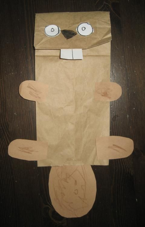 Paper Bag Beaver Puppet for Canada Day. Very cute. A good way to practice cutting out shapes.