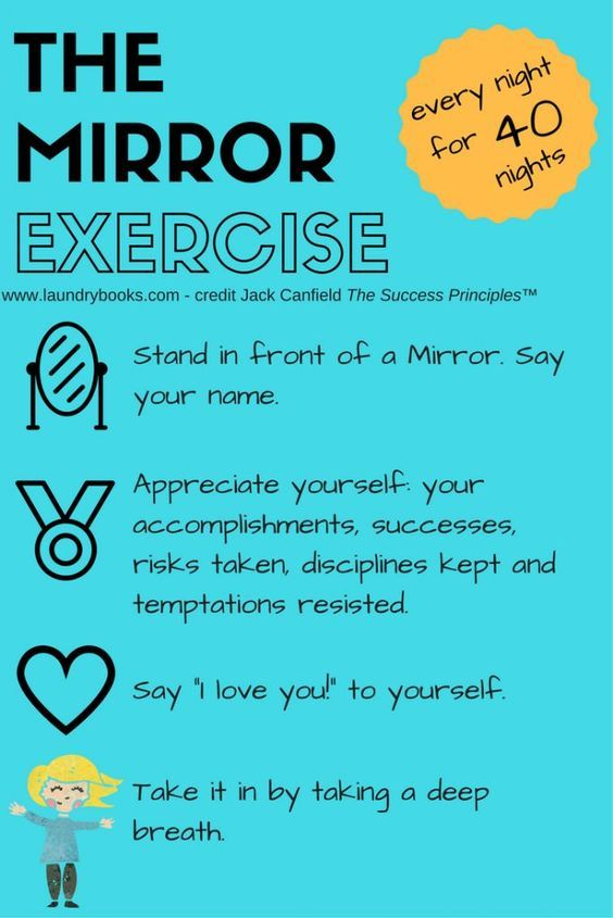 Mirror exercise for building self-esteem. Good for kids and adults! Based on recognizing and appreciating your past successes. Every night for 40 nights