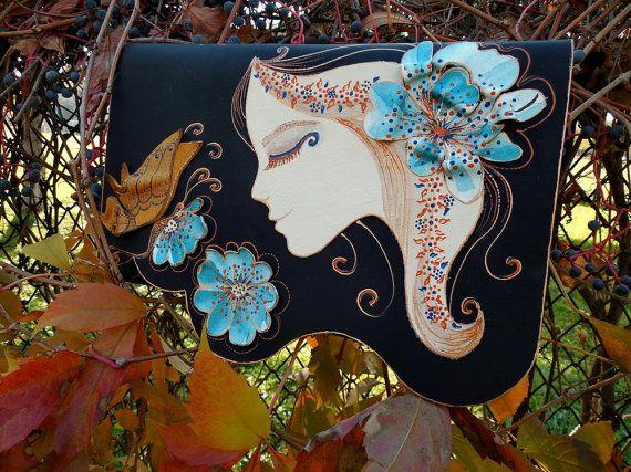 Bohemian floral clutch Girl face bag Unique by spiculdegrau