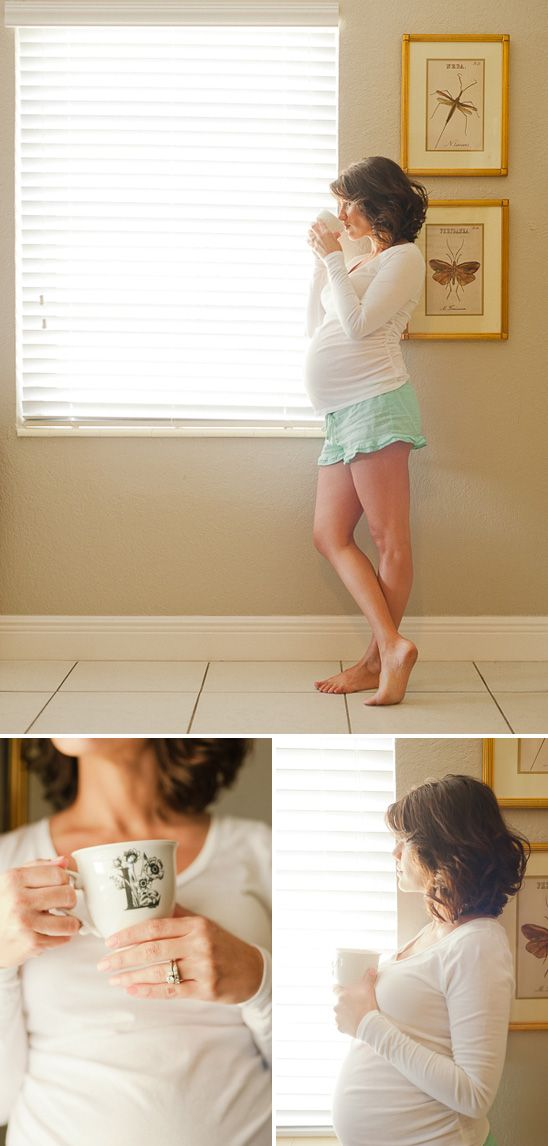 Cute at home maternity session... omg @Kate F. Merrill I could so see you doing this, adorable, must find mint pj shorts!!! xo
