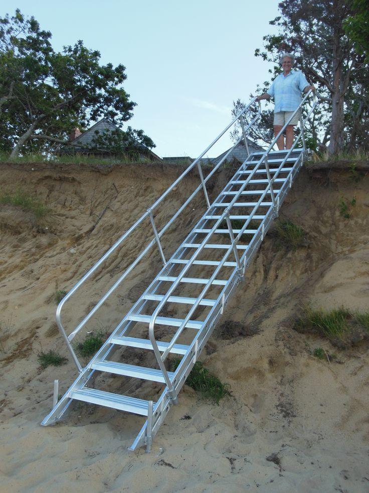 Aluminum Stair Beach Access From Embankment #beachaccess #beachlife  #lakelife #staircase