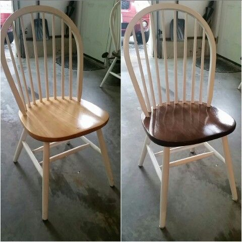 Refinished kitchen chairs as part of a butcher block top kitchen table set with a dark stain and high gloss finish