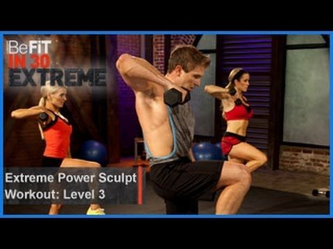 THIS IS MURDER!! ------  Extreme Power Sculpt Workout | Level 3 from BeFit in 30 Extreme is a high-intensity circuit workout that combines cardio, plyometric, and strength exercises to sculpt lean muscle and speed up the metabolism to kick-start your calorie-burning potential. This explosive workout employs 4 circuits of 4 moves each, with a short rest period in between...