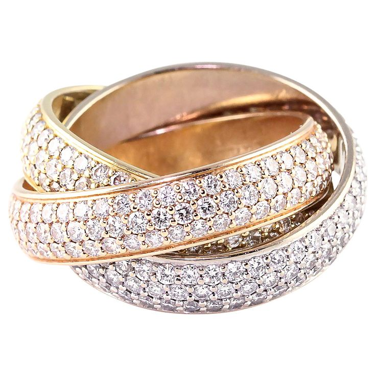 Cartier Trinity Wide Diamond Three Color Gold Rolling Ring | From a unique collection of vintage band rings at https://www.1stdibs.com/jewelry/rings/band-rings/