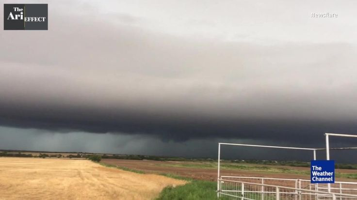 An apocalyptic-looking scene in Wichita Falls, Texas as a monster shelf cloud rolls in.