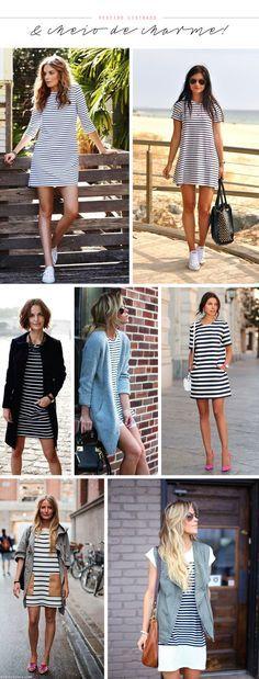 Moda: Vestido listrado tipo camiseta