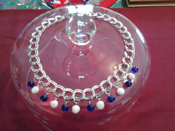 20 Chunky Cobalt Blue & White Necklace by DragonHeadJewelsToo, $16.00