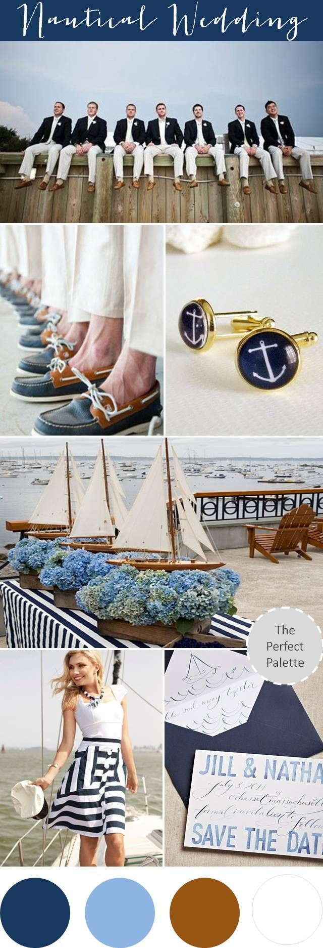 Who says the men can't be stylish during the wedding! We love the boat shoes and anchor cuff links! #Nauticalwedding #Nauticaltheme #Nauticalmenswear #Groomsmen #Boatshoes #Cufflinks
